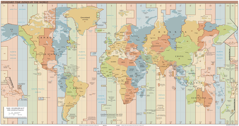 Standard Time Zones, as of March 8, 2020