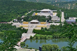 Xuanyuan Temple in Huangling, Yan'an, Shaanxi, dedicated to the worship of the Yellow Emperor (said to be the ancestor of all Chinese) at the ideal sacred centre of China.[v]