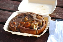 A Yorkshire pudding filled with mashed potato, beef, gravy and vegetables