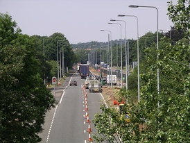 A45 in south Coventry (road works July 2006)