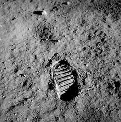 This famous image taken during Apollo 11 shows the fine and powdery texture of the lunar surface.