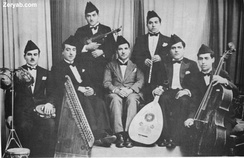 A typical Egyptian Arabic ensemble compromising the Oud, qanun, violin, ney and cello.