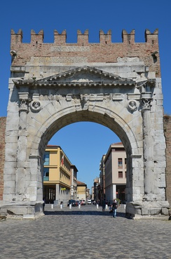 The Arch of Augustus in Rimini (Ariminum), dedicated to Augustus by the Roman Senate in 27 BC, the oldest surviving Roman triumphal arch