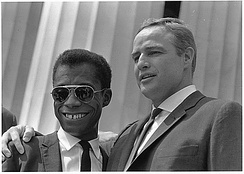 Brando with James Baldwin at the 1963 Civil Rights March on Washington, D.C.