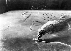 A model representing the attack by dive bombers from USS Yorktown and USS Enterprise on the Japanese aircraft carriers Sōryū, Akagi and Kaga in the morning of June 4, 1942, during the Battle of Midway