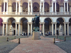 The courtyard, with a bronze copy of Antonio Canova's statue of Napoleon as Mars the Peacemaker