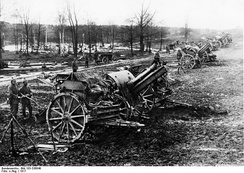 The German 15cm field howitzers during World War I