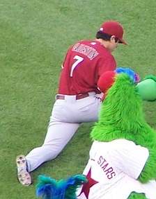 Quentin in 2007 on the field with the Phillie Phanatic