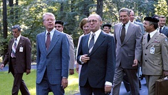 Carter, Israeli Prime Minister Menachem Begin and Zbigniew Brzezinski in September 1978