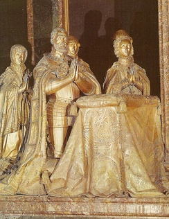 The bronze effigies of Charles and Isabella at the Basilica in El Escorial