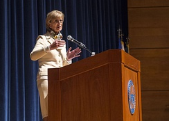 Whitman speaks to cadets during the Hedrick Fellow event at the Coast Guard Academy in March 2017