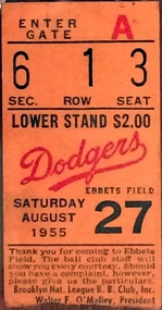 A ticket from the game where Sandy Koufax earned his first major league win on August 27, 1955.