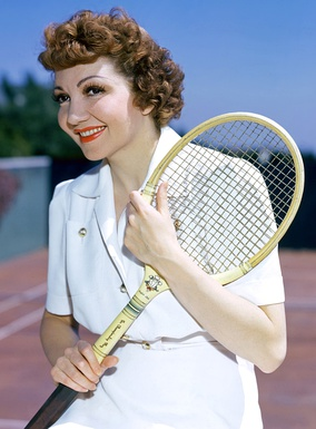Colbert ready to play tennis, early 1940s