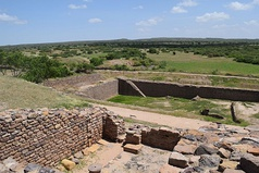 Dholavira, one of the largest cities of Indus Valley Civilisation, with stepwell steps to reach the water level in artificially constructed reservoirs.[16]