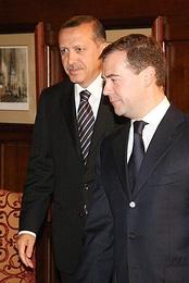 Дмитрий Медведев и Реджеп Тайип Эрдоган в замке Майендорф, 13 августа 2008 г.