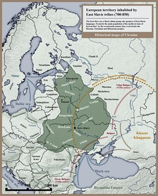 European territory inhabited by East Slavic tribes in 8th and 9th century.