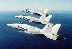 "F/A-18 Hornets of VMFA-314, ""Black Knights"""