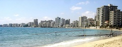 Varosha (Maraş), a suburb of Famagusta, was abandoned when its inhabitants fled in 1974 and remains under Turkish military control