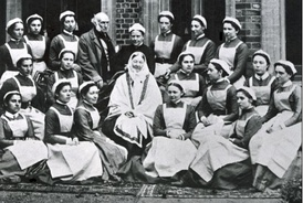 Florence Nightingale (middle) in 1886 with her graduating class of nurses from St Thomas' outside Claydon House, Buckinghamshire