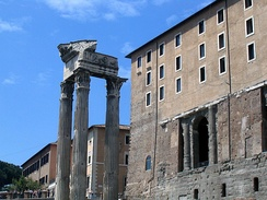 From the Forum, the medieval and Renaissance Senate House stands directly upon the Tabularium, ancient Rome's repository of archives.