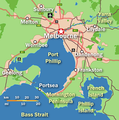 Map of Melbourne and Geelong urban areas