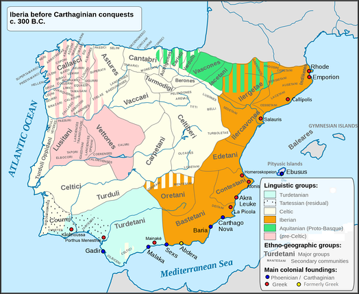 Map 11: Main language areas, peoples and tribes in Iberian Peninsula c. 300 BC.