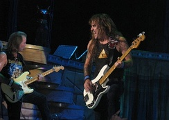 Dave Murray and Steve Harris in 2008. Harris and Murray are the only members to have performed on all of the band's albums.