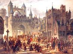 Henry II of France entering Metz in 1552, putting an end to the Republic of Metz.