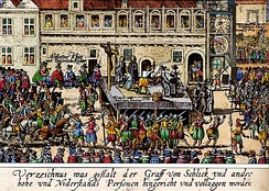 Contemporary woodcut depicting the Old Town Square execution of 27 Protestant leaders in Prague, 1621