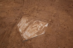 Home plate of a baseball field