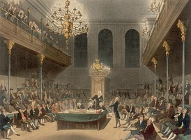 The House of Commons in the early 19th century by Augustus Pugin and Thomas Rowlandson.