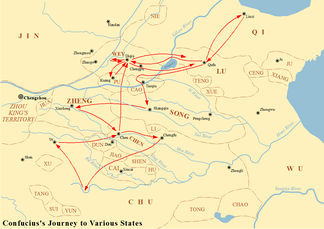 Map showing the journey of Confucius to various states between 497 BC and 484 BC.