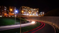 Long-exposure photography is used at night to take interesting pictures of the roads with their route being noticeable