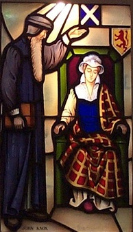 Stained glass window showing John Knox admonishing Mary, Queen of Scots[72]
