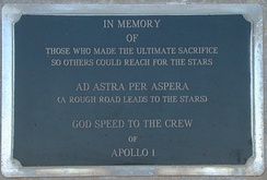 One of two Apollo 1 memorial plaques at Cape Canaveral Air Force Station Launch Complex 34
