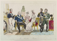 The Royal Family. From left to right: Charles, Count of Artois, Louis XVIII, Marie Caroline, Duchesse of Berry, Marie Thérèse, Duchesse of Angoulême, Louis Antoine, Duke of Angoulême and Charles Ferdinand, Duke of Berry.
