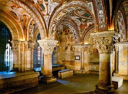 The painted crypt of San Isidoro in León, Spain has a detailed scheme illustrating Biblical stories.