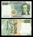 5000 lire – obverse and reverse – printed in 1985