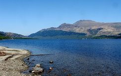 Ben Lomond looking north across Loch Lomond at the waterline