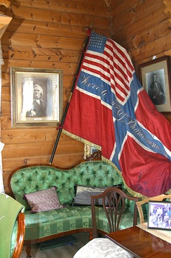 "This patriotic fantasy in flag was given to the American friend, violinist and composer Ole Bull (1818–1880) as a gift from The New York Philharmonic Society. The flag of Norway has been the U.S. star banner that the union mark instead of the Norwegian-Swedish ""Sildesalaten""."