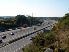 M20 near Maidstone showing separated distributor roads