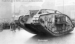 A British Mark IV tank, captured during World War I, in use by German government troops. Berlin, January 1919