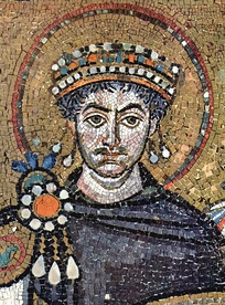 A mosaic of Justinian I in the church of San Vitale, Ravenna, Italy.