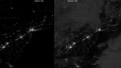 Suomi NPP satellite imagery showing the power outages in New York and New Jersey on November 1 compared to October 21.