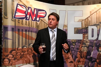 Nick Griffin at a BNP press conference in Manchester in 2009