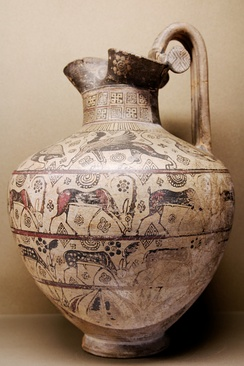 An ancient Greek oenochoe depicting wild goats
