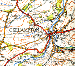 Map of Okehampton from 1946
