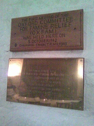 Plaque commemorating first meeting of Oxfam in the Old Library, the University Church, Oxford