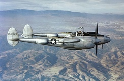 P-38J 42-68008 flying over Southern California.
