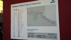 Palermo, AMAT Tramway System Map